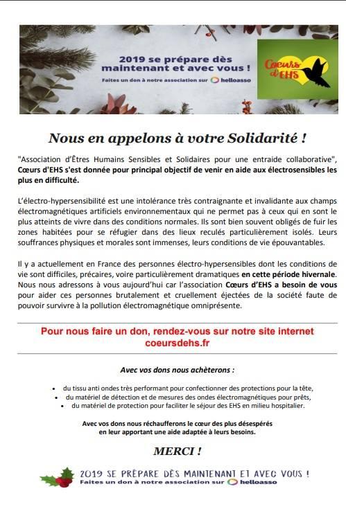 Aider les EHS : Campagne d'appel aux dons 2019